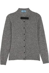 Prada Bow Embellished Wool Cardigan Gray