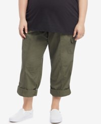 Motherhood Maternity Plus Size Convertible Cargo Pants Pale Stone