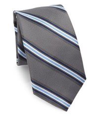 Saks Fifth Avenue Collection Dotted Striped Silk Tie Grey Navy