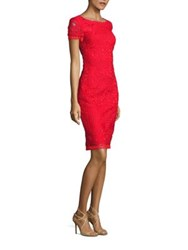 St. John Embroidered Lace Dress Caviar African Red