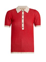 Burberry Contrast Collar Cashmere Blend Polo Shirt Red