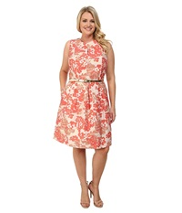 Tahari By Arthur S. Levine Plus Size Katherine Dress Coral Women's Dress