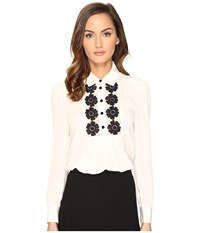 Kate Spade Daisy Lace Silk Shirt French Cream Women's Clothing White