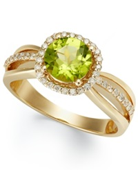 Macy's 14K Gold Peridot 1 1 2 Ct. T.W. And Diamond 1 4 Ct. T.W. Round Cut Ring