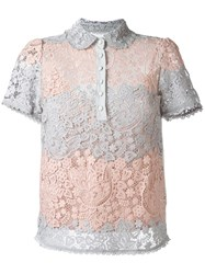 Red Valentino Shortsleeved Macrame Polo Top Grey