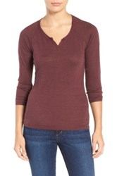 Joe's Jeans Penn Split Neck Linen Tee Red