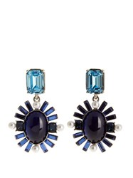 Oscar De La Renta Oval Crystal Embellished Earrings Blue