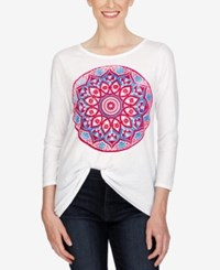 Lucky Brand Three Quarter Sleeve Graphic T Shirt Lucky White