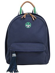Tory Burch Logo Embroidered Cotton Canvas Backpack