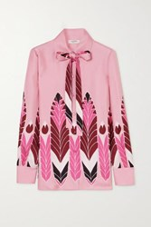 Valentino Pussy Bow Printed Silk Twill Blouse Pink