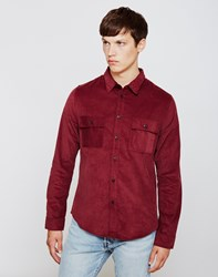 The Idle Man Double Pocket Shirt Burgundy