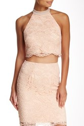 Abs By Allen Schwartz Guipure Lace Crop Top Pink