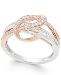 Macy's Diamond Two Tone Swirl Ring 1 2 Ct. T.W. In 14K Rose And White Gold Two Tone