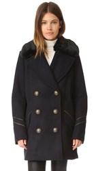 Free People Sedgwick Pea Coat Navy