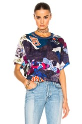 Maison Martin Margiela Viscose Printed Twill Short Sleeve Tee In Blue Graphic Blue Graphic