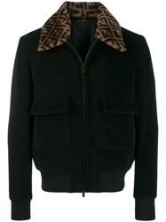 Fendi Logo Collar Bomber Jacket Black