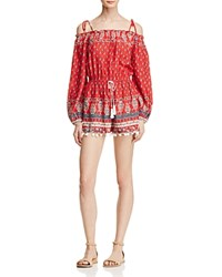 Band Of Gypsies Paisley Floral Print Cold Shoulder Romper Red White