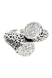 Dani G Jewelry Sterling Silver Crystal Crossover Ring Metallic