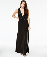 As U Wish Juniors' Beaded Plunge Gown Black