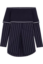 Dkny Off The Shoulder Stretch Knit And Poplin Top Navy