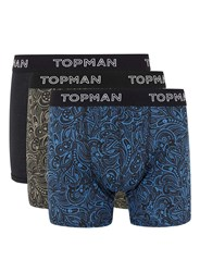 Topman Khaki And Blue Paisley Print Trunks 3 Pack Black