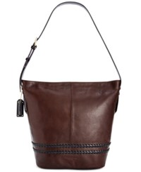 Tignanello Classic Boho Vintage Leather Bucket Bag Brown Black