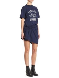Junya Watanabe Printed Ruched T Shirt Dress Navy White
