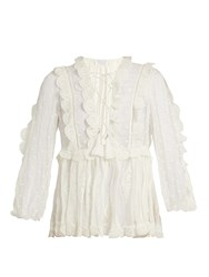 Zimmermann Valour Embroidered Silk Crepon Blouse Ivory