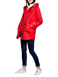 Joules Longline Waterproof Coat Red