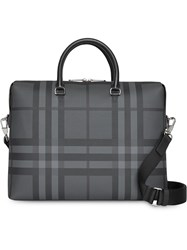Burberry Large London Check Briefcase Grey