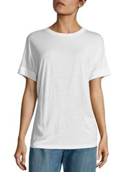 Vince Short Sleeve Silk Blend Cocoon Tee White Black