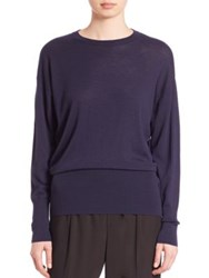 Vince Merino Wool Crewneck Sweater Coastal Blue Black