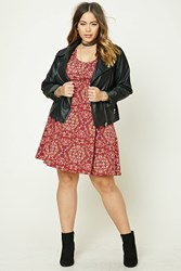 Forever 21 Plus Size Damask Swing Dress Burgundy Pink