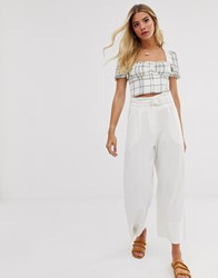 Moon River Statement Buckle Cropped Trousers Beige