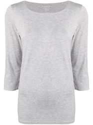 Majestic Filatures Cropped Sleeve Top Grey