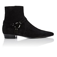 Saint Laurent Men's Deven Ankle Boots Black Silver Blue Black Silver Blue