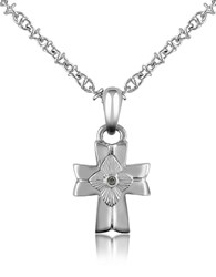Forzieri Diamond And Stainless Steel Cross Pendant Necklace Silver