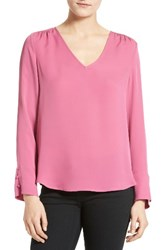 Joie Women's Theda V Neck Silk Blouse Light Berry