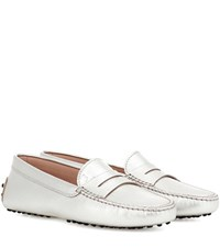 Tod's Gommini Leather Loafers Silver