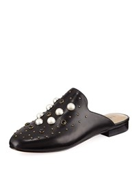 Neiman Marcus Farra Leather Studded Mule Black