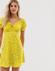 Influence Mini Dress With Puff Sleeves In Ditsy Print Yellow
