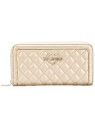 Love Moschino Quilted Logo Wallet Metallic