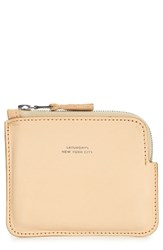 Saturdays Surf Nyc Leather Half Zip Wallet Beige Vegetable Tan
