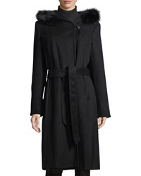 Ellen Tracy Slick Wool Wrap Pea Coat W Fox Fur Hood Black