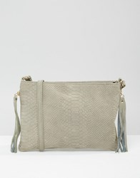 Warehouse Embossed Croc Crossbody Grey