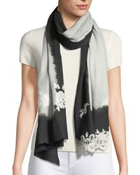 Bindya Ombre Lace Trim Scarf Black Black Gray