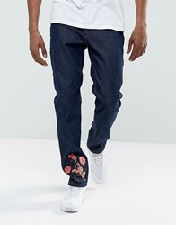 Hype Skinny Jeans In Blue With Floral Embroidery Blue
