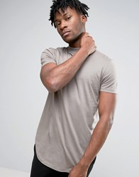Asos Super Longline T Shirt With Turtle Neck And Curved Hem In Grey Storm Cloud Brown