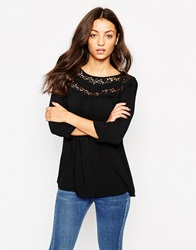 Vero Moda 3 4 Sleeve Tunic With Lace Detail Black