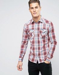 Blend Of America Slim Fit Check Shirt 73815 Red